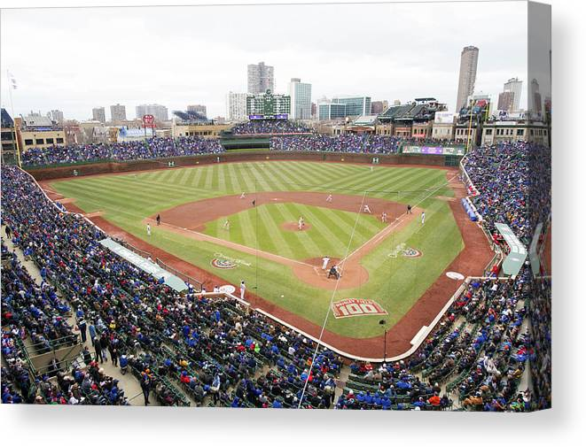 National League Baseball Canvas Print featuring the photograph Philadelphia Phillies V Chicago Cubs by Ron Vesely