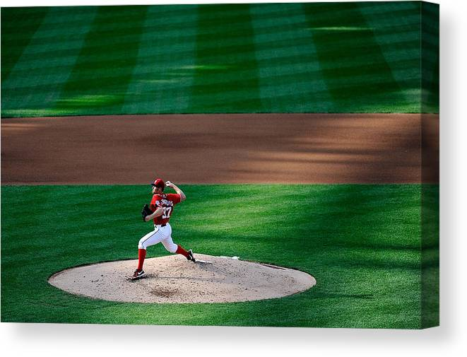 American League Baseball Canvas Print featuring the photograph Philadelphia Phillies V Washington 1 by Patrick Mcdermott