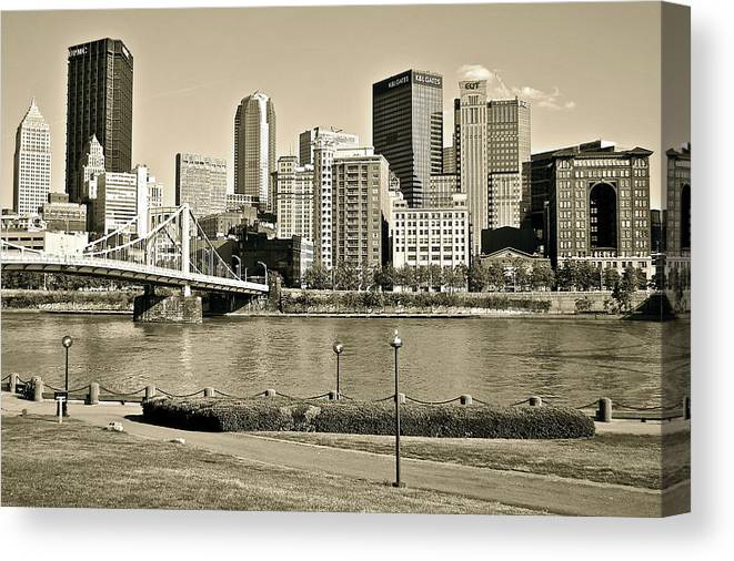 Pittsburgh Canvas Print featuring the photograph Pittsburgh In Sepia by Frozen in Time Fine Art Photography