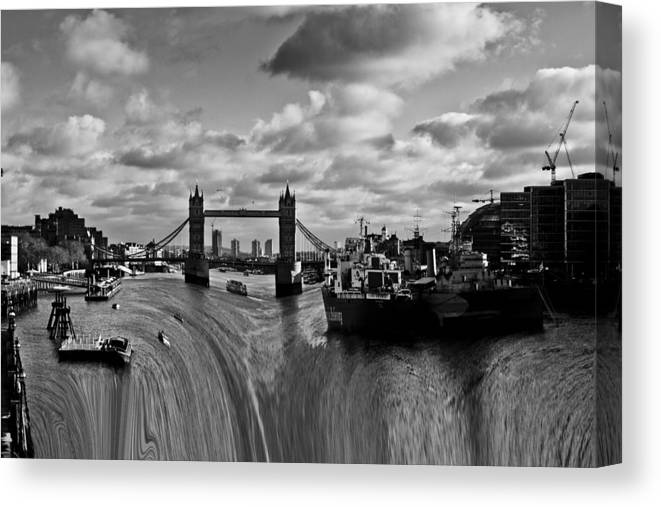 Waterfall Canvas Print featuring the photograph River Thames Waterfall by David Pyatt