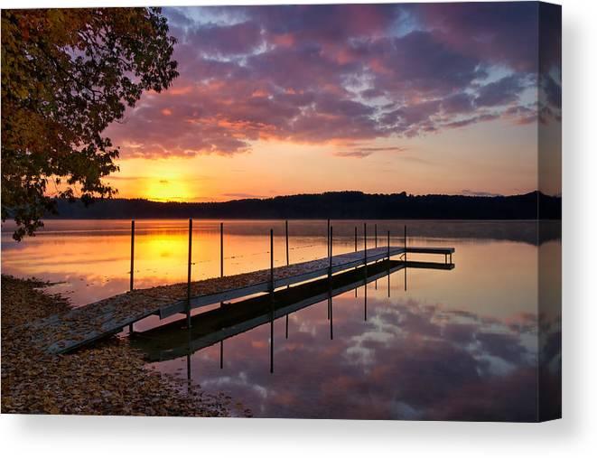 Sunrise Canvas Print featuring the photograph Sunrise On Keoka Lake by Darylann Leonard Photography