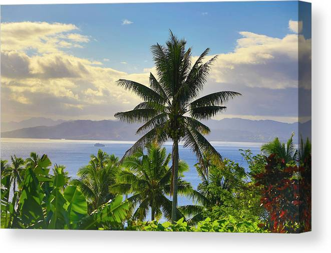 Cruise Ship Canvas Print featuring the photograph Sunset, Taveuni, Fiji by Douglas Peebles