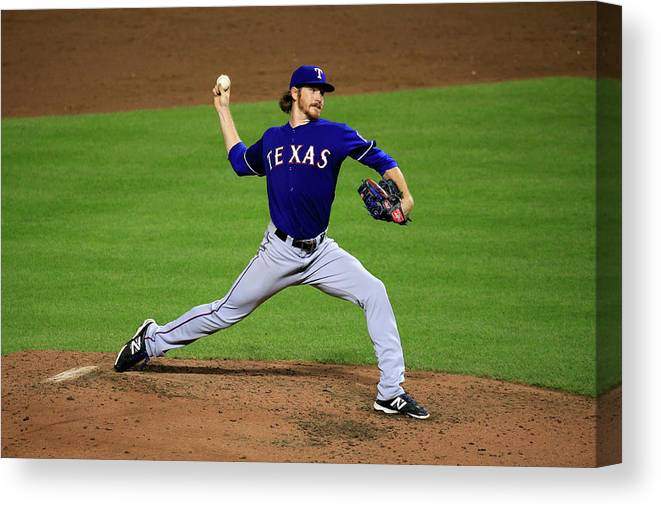 American League Baseball Canvas Print featuring the photograph Texas Rangers V Baltimore Orioles 1 by Rob Carr