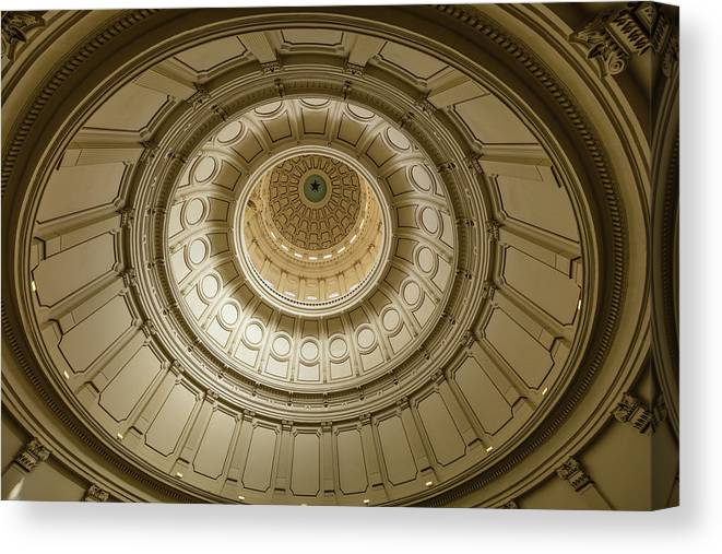 Photography Canvas Print featuring the photograph Texas State Capitol, Austin Texas - by Panoramic Images