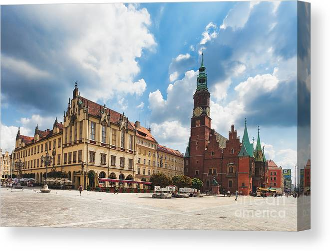 Poland Canvas Print featuring the photograph The City Hall Wroclaw Poland by Frank Bach