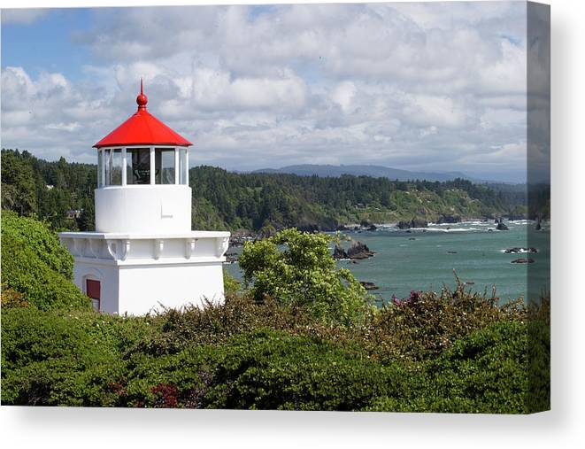 Photography Canvas Print featuring the photograph Trinidad Head Light House On The Coast by Panoramic Images