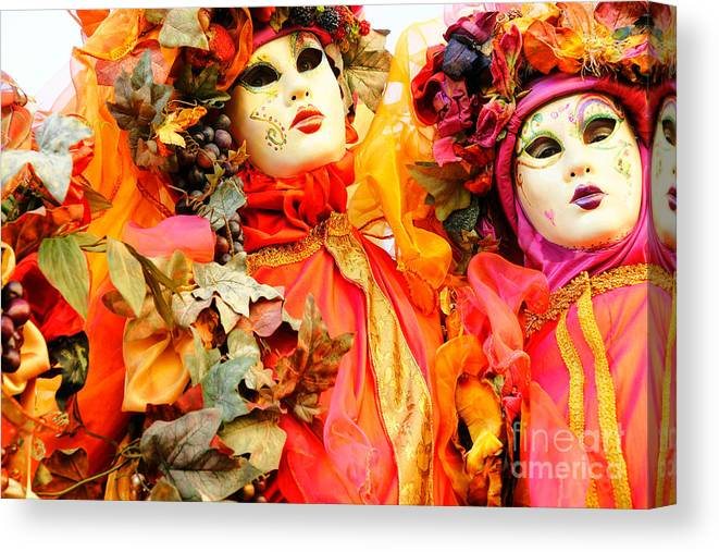 Carnaval Canvas Print featuring the photograph Venice Masks - Carnival by Luciano Mortula