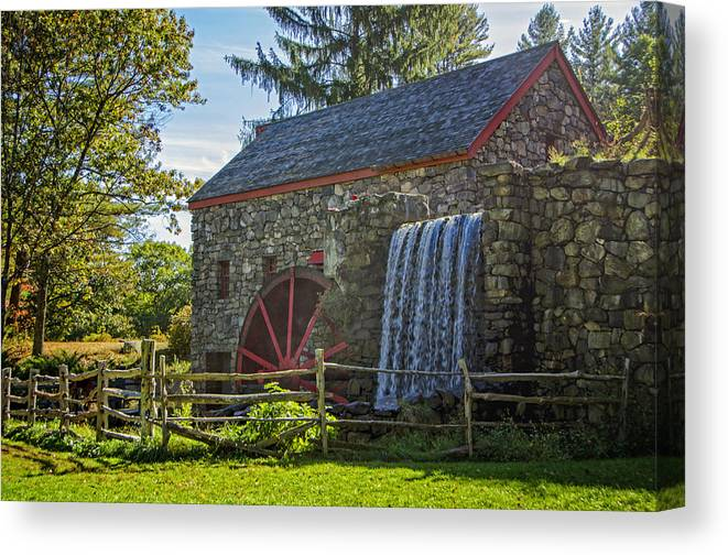 Grist Mill Canvas Print featuring the photograph Wayside Inn Grist Mill by Donna Doherty