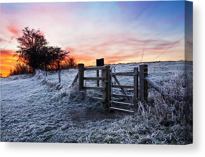 Winter Canvas Print featuring the pyrography Winter Sunrise by Graham Custance