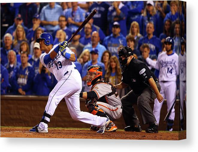 Game Two Canvas Print featuring the photograph World Series - San Francisco Giants V by Dilip Vishwanat