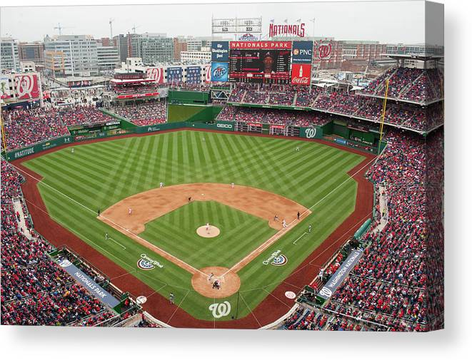 National League Baseball Canvas Print featuring the photograph Atlanta Braves V. Washington Nationals by Mitchell Layton