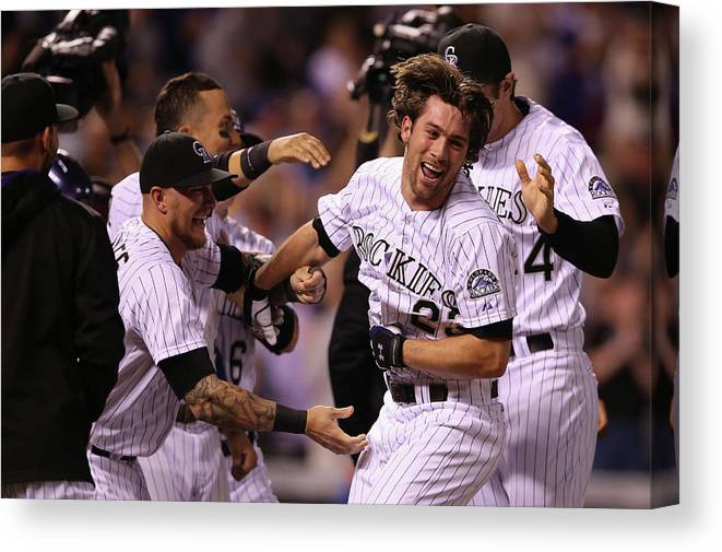 Celebration Canvas Print featuring the photograph New York Mets V Colorado Rockies by Doug Pensinger