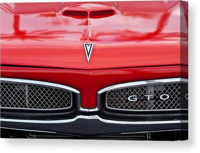 ae265ddee 1967 Pontiac Gto Emblem Canvas Print featuring the photograph 1967 Pontiac  Gto Grille Emblem by Jill