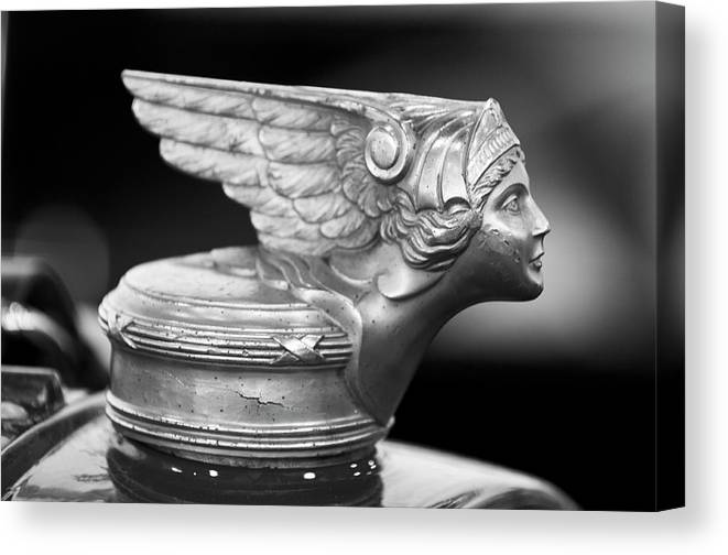 1928 Buick Custom Speedster Canvas Print featuring the photograph 1928 Buick Custom Speedster Hood Ornament 3 by Jill Reger