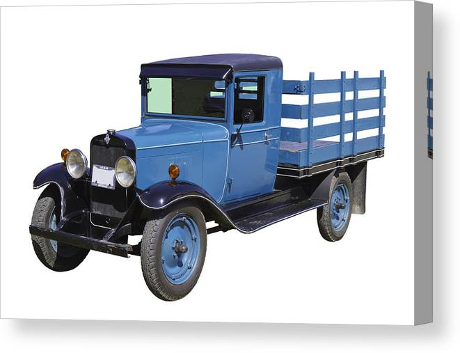 1929 Canvas Print featuring the photograph 1929 Blue Chevy Truck 1 Ton Stake Body by Keith Webber Jr
