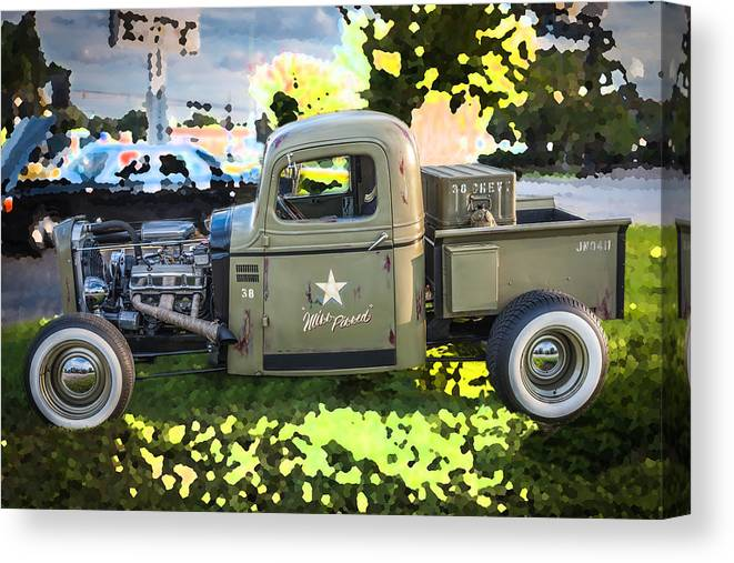 1938 Chevrolet Canvas Print featuring the photograph 1938 Chevy Pick Up Truck Rat Rod by Rich Franco