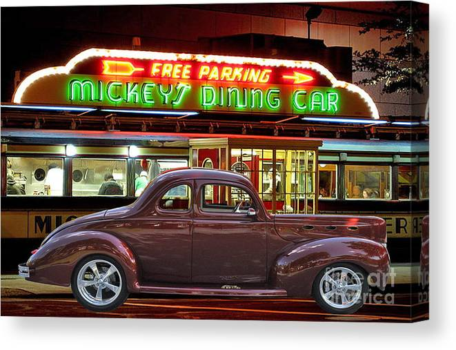 Old Canvas Print featuring the photograph 1940 Ford Deluxe Coupe At Mickeys Dinner by Gary Keesler