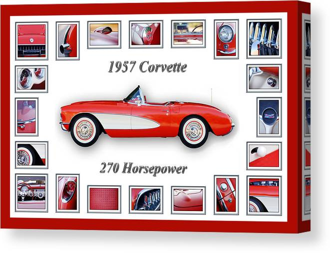 1957 Chevrolet Corvette Grille Canvas Print featuring the photograph 1957 Chevrolet Corvette Art by Jill Reger