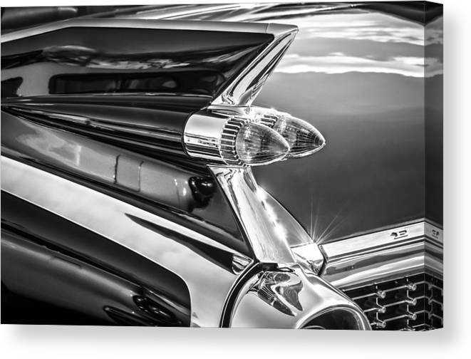 1959 Cadillac Eldorado Taillight Canvas Print featuring the photograph 1959 Cadillac Eldorado Taillight -097bw by Jill Reger