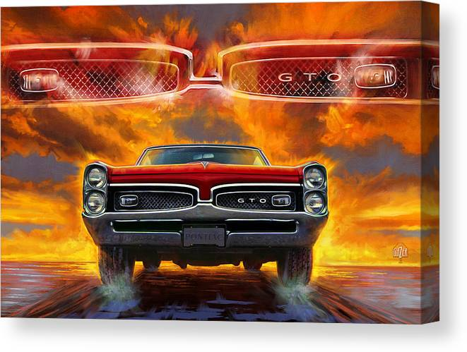 Sunset Canvas Print featuring the digital art 1967 Pontiac Tempest Lemans Gto 1967 by Garth Glazier