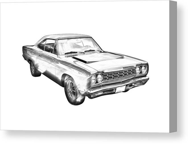 1968 Plymouth Roadrunner Muscle Car Illustration Canvas Print