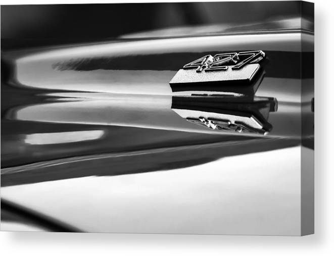 1969 Chevrolet Camaro 427 Hood Emblem Canvas Print featuring the photograph 1969 Chevrolet Camaro 427 Hood Emblem - 0879bw by Jill Reger