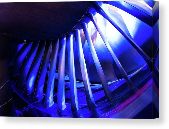 Commercial Canvas Print featuring the photograph Aircraft Engine Fan Blades. by Mark Williamson