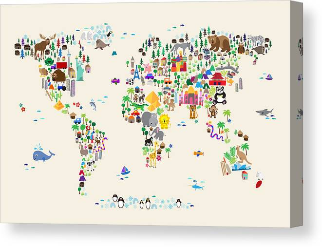 Map Of The World Canvas Print featuring the digital art Animal Map Of The World For Children And Kids by Michael Tompsett