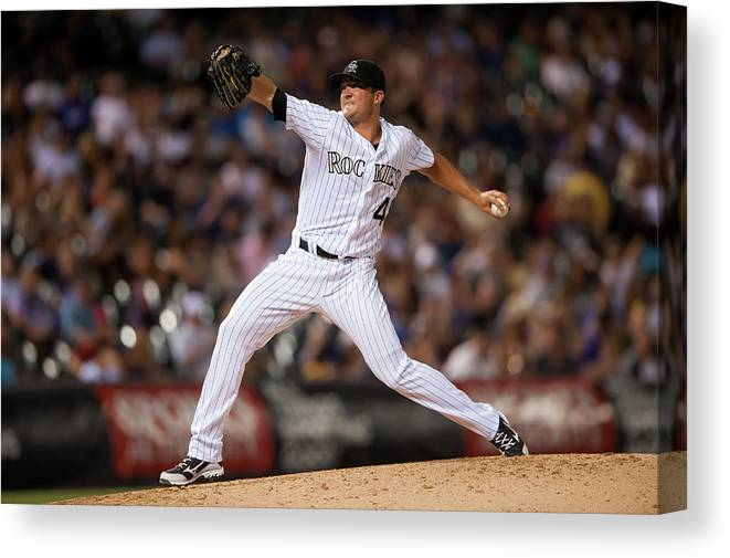 Baseball Pitcher Canvas Print featuring the photograph Arizona Diamondbacks V Colorado Rockies by Dustin Bradford