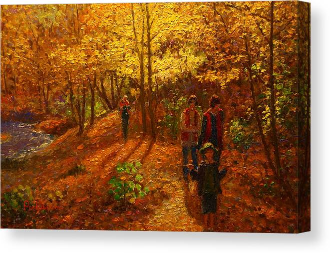 Nz Impressionist Canvas Print featuring the painting Autumn Bush Creek Track by Terry Perham