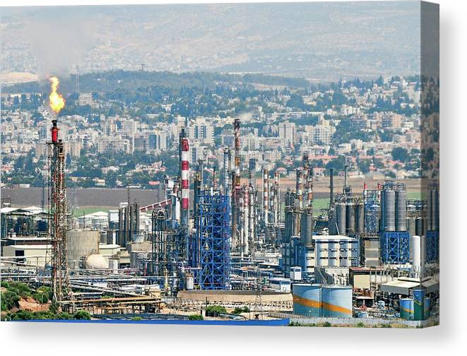 Petrochemical Plant Canvas Print featuring the photograph Haifa Petrochemical Plant by Photostock-israel/science Photo Library