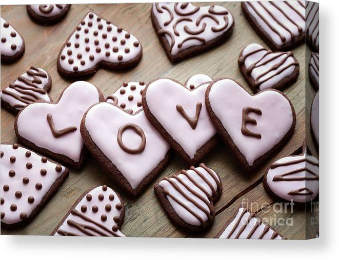 Anniversary Canvas Print featuring the photograph Heart Cookies by Kati Finell