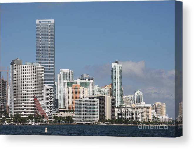 Miami Canvas Print featuring the photograph Skyline Miami by Christiane Schulze Art And Photography