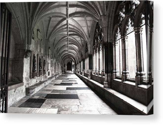 Westminister Abbey Canvas Print featuring the photograph Westminister Abbey Cloister by Karen Varnas