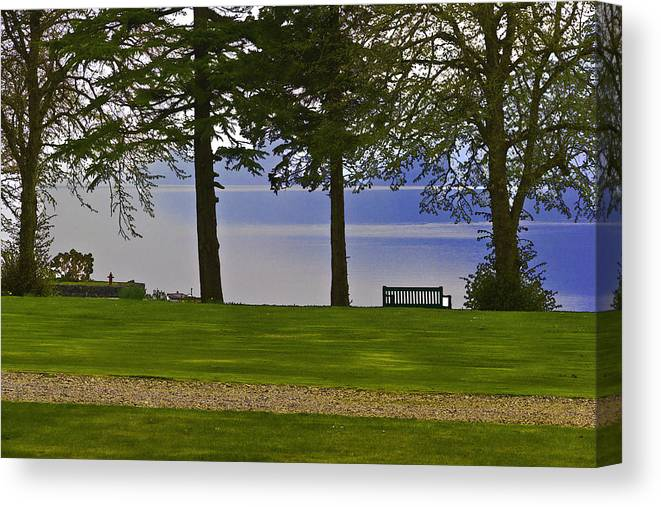 Bench Canvas Print featuring the digital art A Bench And Path On The Shore Of Loch Ness In Scotland by Ashish Agarwal