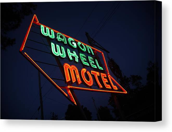 66 Canvas Print featuring the photograph Route 66 - Wagon Wheel Motel by Frank Romeo