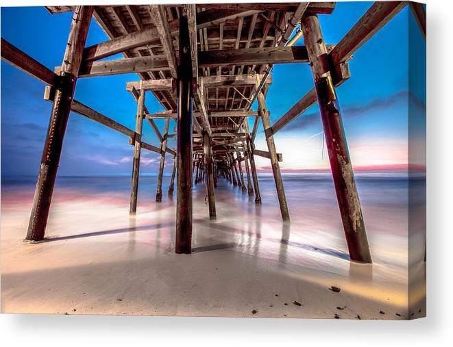 San Clemente Pier Canvas Print featuring the photograph 30 Seconds Under San Clemente Pier by Robert Aycock
