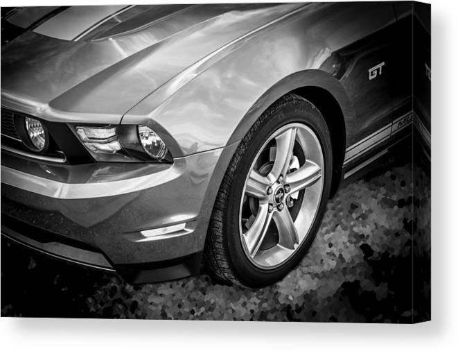 2010 Ford Mustang Canvas Print featuring the photograph 2010 Ford Mustang Convertible Bw by Rich Franco