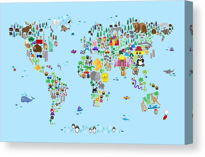 d55f30a0982 Map Of The World Canvas Print featuring the digital art Animal Map Of The  World For