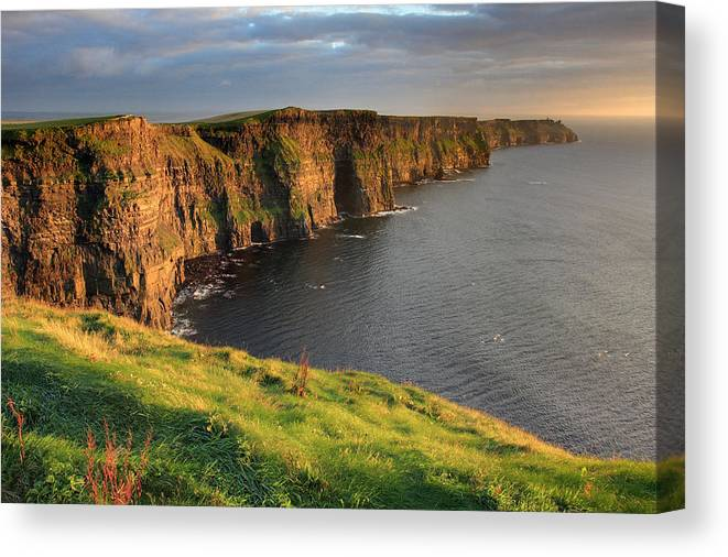 Ireland Canvas Print featuring the photograph Cliffs Of Moher Sunset Ireland by Pierre Leclerc Photography