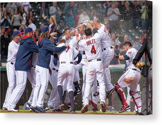 American League Baseball Canvas Print featuring the photograph Detroit Tigers V Cleveland Indians 4 by Jason Miller