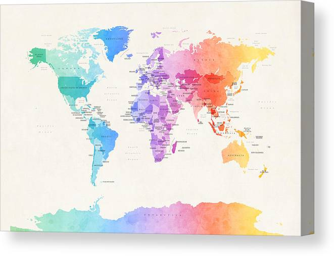 Watercolour Political Map Of The World Canvas Print / Canvas Art by ...