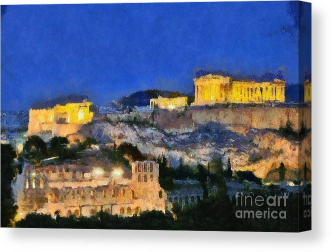 Acropolis; Acropoli; Akropoli; Akropolis; Parthenon; Erechthion; Erechtheion; Monument; Theatre; Herodus Atticus; Odeon; Athens; City; Capital; Attica; Attika; Attiki; Greece; Hellas; Greek; Hellenic; Europe; European; Temple; Ancient; Dusk; Twilight; Evening; Night; Lights; Holidays; Vacation; Travel; Trip; Voyage; Journey; Tourism; Touristic; Summer; Paint; Painting; Paintings Canvas Print featuring the painting Acropolis Of Athens During Dusk Time by George Atsametakis