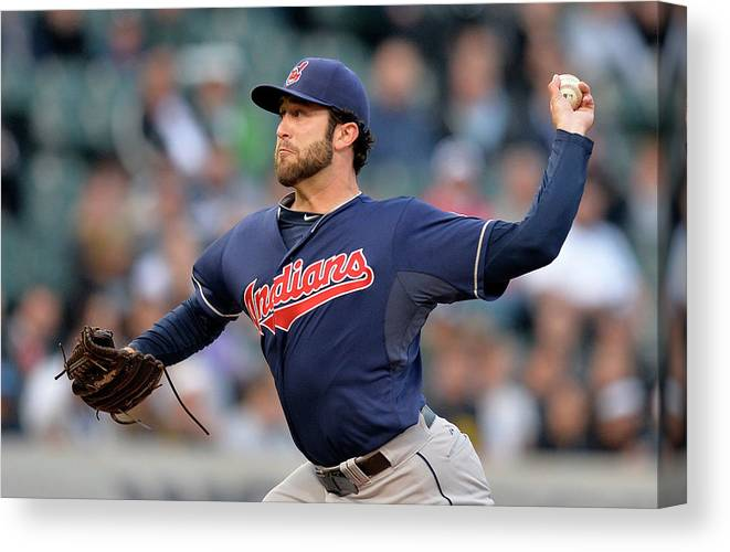 American League Baseball Canvas Print featuring the photograph Cleveland Indians V Chicago White Sox by Brian Kersey