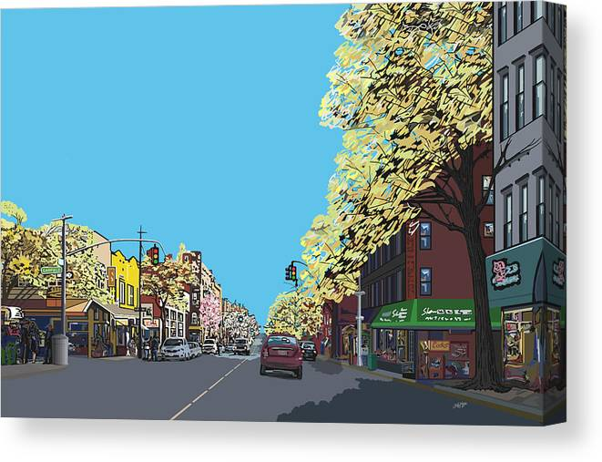 Landscape Canvas Print featuring the digital art 5th Ave And Garfield Park Slope Brooklyn by James Mingo