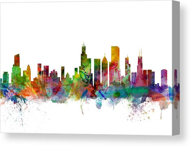 Chicago Canvas Print featuring the digital art Chicago Illinois Skyline 6 by Michael Tompsett