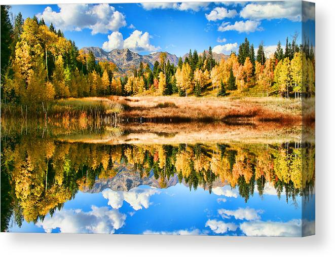 Landscape Canvas Print featuring the photograph Fall Refelctions by Mark Smith