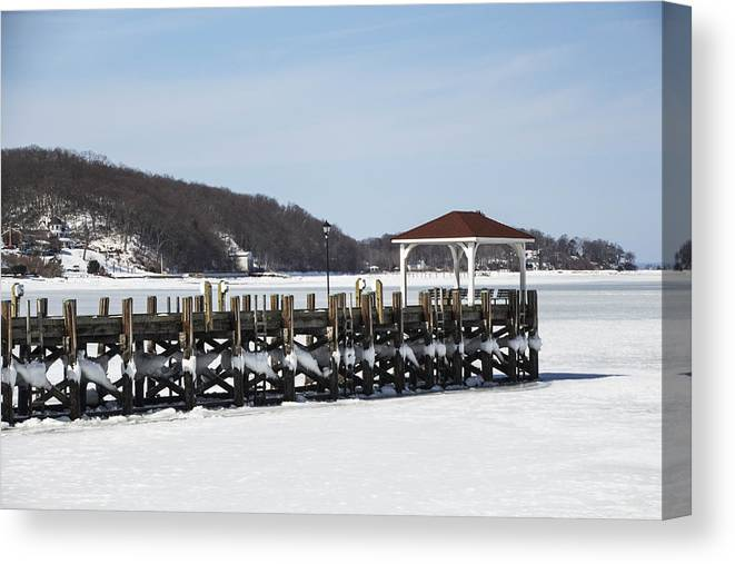 Huntington Canvas Print featuring the photograph Frozen Northport Dock by Susan Jensen