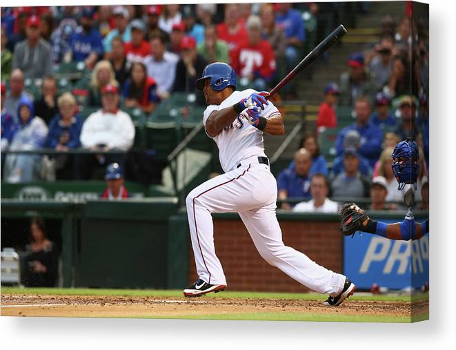 Adrian Beltre Canvas Print featuring the photograph Kansas City Royals V Texas Rangers 6 by Ronald Martinez