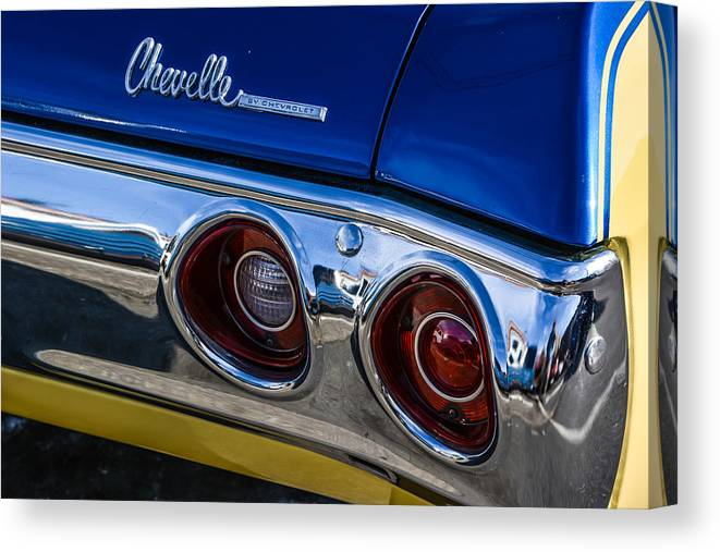 Car Canvas Print featuring the photograph 67 Chev Taillight by Mike Watts